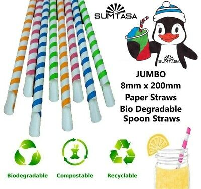 Jumbo Paper Slush, Milkshake, Smoothie, Spoon Straws 8x200mm Long,1x1000 • 24.95£