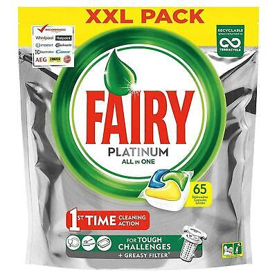 Fairy Platinum Dishwasher Tablets Lemon All-in-One Dissolving Tablets XL 65 Pack • 11.68£