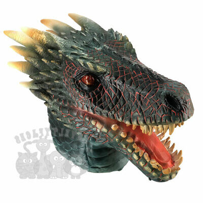 Latex Animal Mask DRAGON Head Cosplay Fancy Dress Novelty Masquerade   • 27.99£
