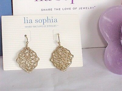 $ CDN16.40 • Buy Beautiful Lia Sophia DIARY Earrings, Gold Toned, Open Filigree, NWT