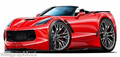 $48.99 • Buy 2015 Corvette Z06 ZL3 Red Convertible Cartoon Car Wall Graphic Decal Game Room