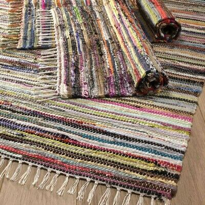 £25 • Buy HANDMADE INDIAN CHINDI RAG RUG Recycled Cotton LARGE SMALL Woven WEAVE FLOOR MAT