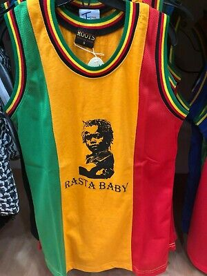 £6.99 • Buy  Child Kids Rasta Baby Red Gold Green Mesh Vest Basketball Top Roots & Culture