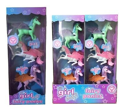 3 Fairy Unicorn Ponies Wing Figure Set | Kids Girl Party Bag Filler | Toys Gift. • 4.99£