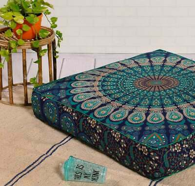 £12.99 • Buy New Indian Peacock Mandala 35  Square Floor Pillow Case Cushion Cover Dog Bed