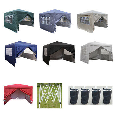 New 3x3m Waterproof Pop Up Gazebo Garden Wedding Party Tent With Sides UK • 94.80£