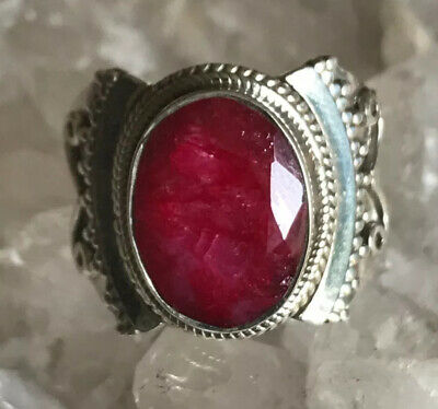 925 Solid Sterling Silver Red Ruby Ring Size 9.5 Spirit • 99.99£