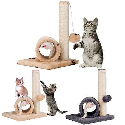 Cat Kitten Sisal Scratch Post Bed Toy With Tunnel & Mouse Pet Activity Play Fun • 5.89£