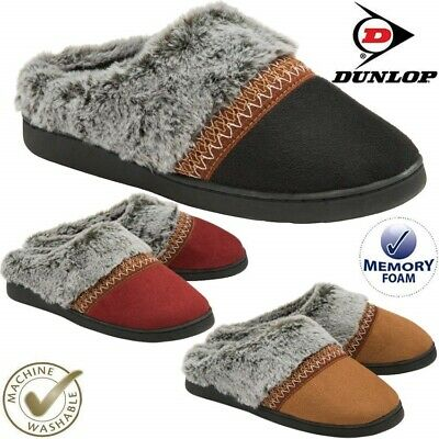 Ladies Slippers Slip On Comfy Mule Faux Sheepskin Fur Memory Foam Washable Shoes • 12.95£