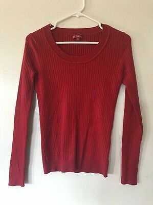 $3.99 • Buy Merona Ribbed Sweater Women's Size M Medium Red Runs Small