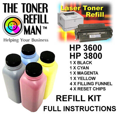Toner Refill For Use In HP 3600, HP 3800 Printers  BK,C,M,Y Full Instructions • 58.75£