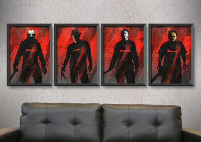 $ CDN79.54 • Buy A Set Of 4 Horror Movie Posters,friday The 13th Print,halloween Print,man Cave