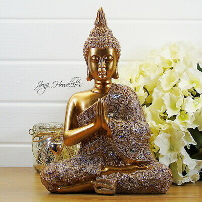 Large THAI BUDDHA Praying Ornament Gold Glitter Statue MEDITATING Figurine 29cm • 25.90£