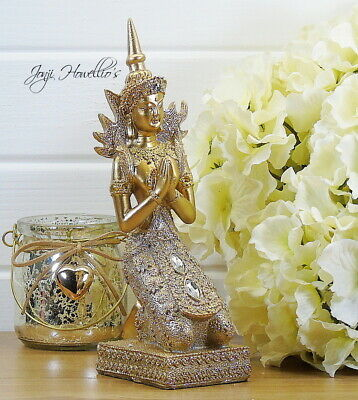 Gold THAI BUDDHA Praying Ornament Gold Glitter Statue MEDITATING Figurine 21 Cm • 13.50£