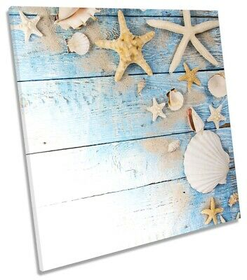 Shabby Chic Seaside Bathroom Picture CANVAS WALL ART Square Print Blue • 24.99£