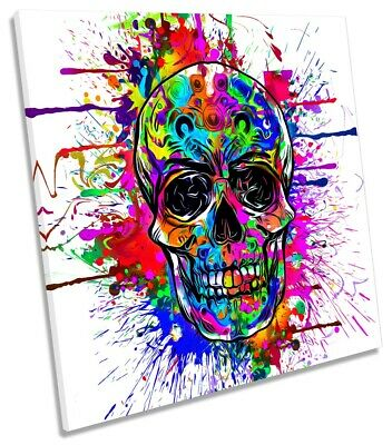Skull Face Graffiti Picture CANVAS WALL ART Square Print Multi-Coloured • 24.99£