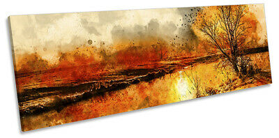 £59.99 • Buy Sunset Tree Abstract Picture PANORAMA CANVAS WALL ART Print Orange
