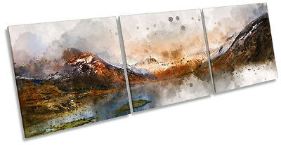 Lake District Gable Mountains Picture CANVAS WALL ART Triple Print Brown • 39.99£