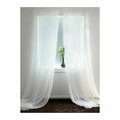 IKEA LILL Brand New Pair Of Long Sheer Floaty White Net Curtains 280 X 250cm • 9.99£