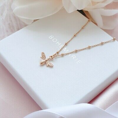 Rose Gold Plated Bee Necklace, Dainty Boho Necklaces, Necklaces For Women • 19£