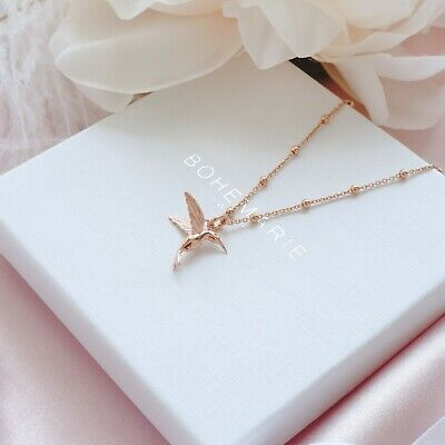 Rose Gold Plated Hummingbird Necklace Dainty Boho Necklaces, Necklaces For Women • 20£