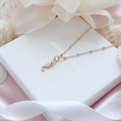 Rose Gold Plated Seahorse Necklace, Dainty Boho Necklaces, Necklaces For Women • 21£