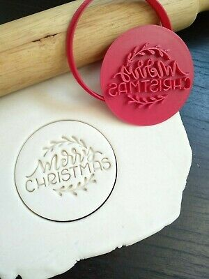 AU10.95 • Buy Merry Christmas (Style 2) Cookie Fondant Embosser Stamp & Cutter