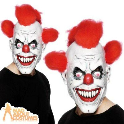 £8.49 • Buy Scary Clown Mask Halloween Latex With Red Hair Evil Horror Fancy Dress Accessory