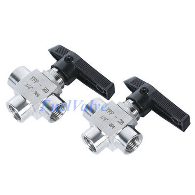 $13.06 • Buy 1/4  3 Way Ball Valve Stainless Steel NPT L Port Water Oil Gas High Pressure