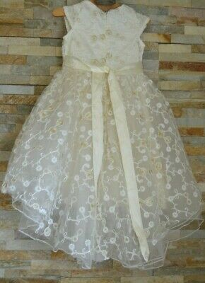 Cream Sequins High Low Flower Girl Bridesmaid Party Princess Tulle Dress 2-3 Yrs • 14.99£