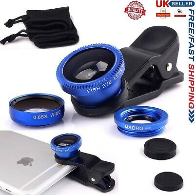 £2.98 • Buy 3 In 1 Fish Eye Wide Angle Macro Clip On Camera Lens Zoom For IPhone 6 6s 7 8