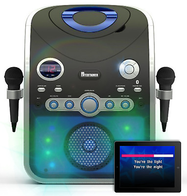 Bluetooth Karaoke Machine With Party Lights & 240 CDG SONGS & 2 WIRELESS MICS • 129.99£