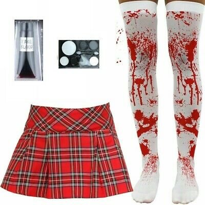 £14.99 • Buy Womens Zombie School Girl Blood Scary Costume Sexy Halloween Fancy Dress Outfit
