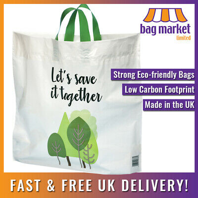 Strong 'Bag For Life' Large Flexi-loop Handle Carriers | 90% Recycled UK Plastic • 32.50£