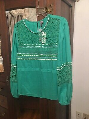 $ CDN62.59 • Buy Nwt Blink For Anthropologie Medium Embroidered Green Peasant Top/blouse