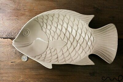 Beige Ceramic 38cm Fish Shape Serving Platter Seafood Dinner Plate Dish Bowl • 28.99£
