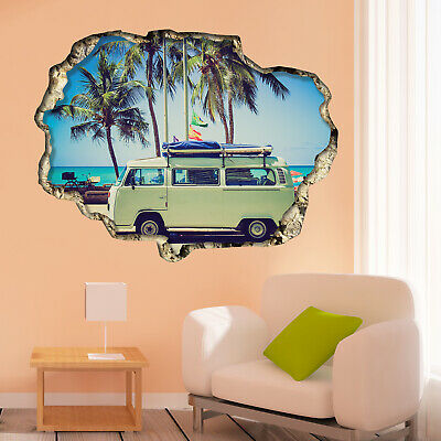 £8.99 • Buy Walplus Wall Sticker 3D View With Camper Van Art Decal Art Room Home Decorations