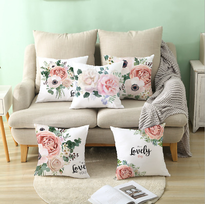 Flower Love Polyester Cushion Cover Pillow Case Home Sofa Decor 45x45 Uk • 3.19£