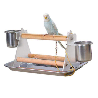 Pet Bird Budgie Parrot Table Top Play Stand Rack Cage Playground Perch Platform • 8.99£