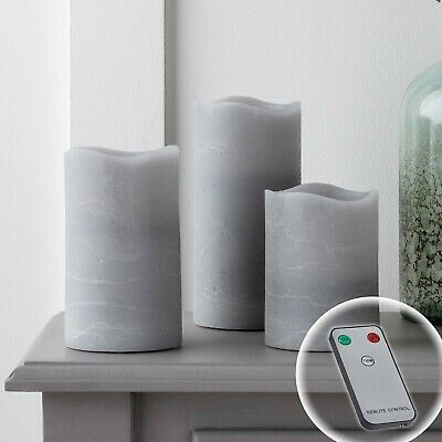 £27.99 • Buy 3 Grey Remote Controlled Battery Pillar Candles Warm White LED Timer Lights4fun