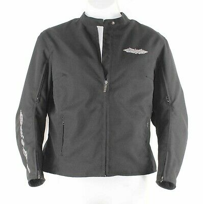 Street & Steel Sz WR2 Black Silver Wing Zip Out Lined Pads Poly Moto Jacket 900Q • 129.99$