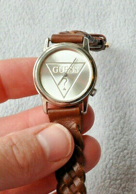 $ CDN48.71 • Buy Guess Brown Genuine Leather Braided Band Silver Strap Women's Watch 8