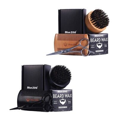 Beard Grooming Kit With Beard Brush Moustache Wax Scissors Comb Gift Set • 11.93£