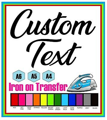 £1.25 • Buy Custom  Iron On T-Shirt Transfer Personalised Any Text 10 Fonts 12 Colours