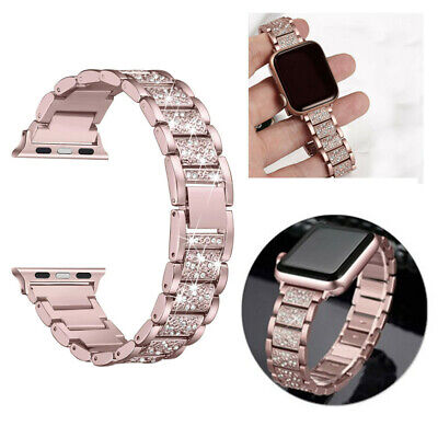 $ CDN7.36 • Buy For Apple Watch Series 5 4 3 2 1 38/40/42/44mm Bling Stainless Steel Watch Band