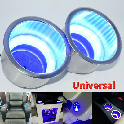 $20.67 • Buy 2PCS Universal Marine Boat Truck RV Stainless Cup Drink Holder W/Blue LED Light