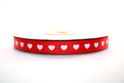 Grosgrain Ribbon With White Hearts 10mm Wide, Various Colours 2m & Full Roll • 2.99£