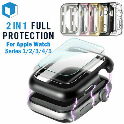 $ CDN2.38 • Buy For Apple Watch Series 5 /4 /3/2/1 Bumper Case 40MM 44MM Full Screen Protector