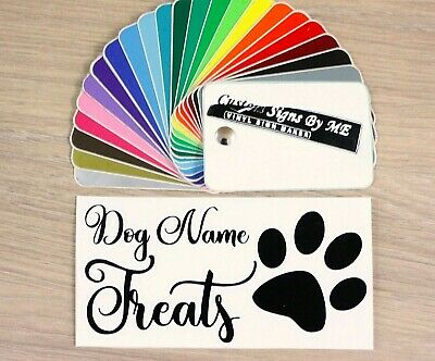 Dog Puppy Treat Chew Box Jar Personalised Sticker With Name Vinyl Decal Adhesive • 2.57£