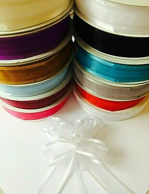 23mm Organza Pull Bow Choose Colours Gift Wrap Wedding Birthday Baby Floristry • 2.35£